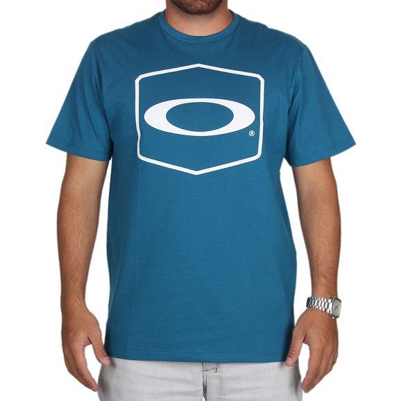 Camiseta Oakley Hexagonal Tee - Azul Escuro 52bfe5566de